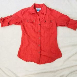 Columbia Shirt for women Red-orange color size S.